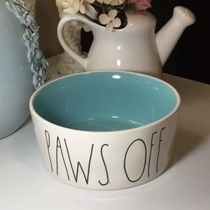 Rae Dunn PAWS OFF Dog Bowl with Aqua Interior